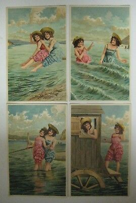 Vintage BATHING BEAUTIES Postcard Lot Early 1900's PFB Embossed Antique UNPOSTED