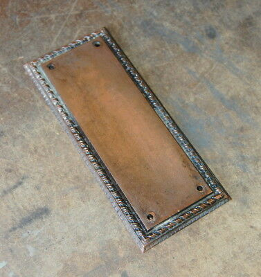 Original Antique Cast Bronze Door Push Plate, Vintage Door Hardware