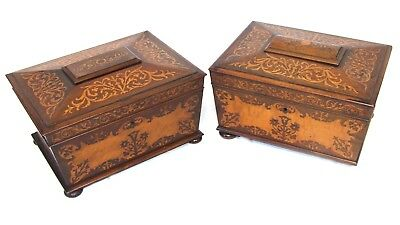 Near PAIR Antique REGENCY Rosewood and Marquetry Sewing Boxes : Fitted Interiors
