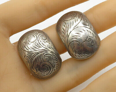 SU 925 Sterling Silver - Vintage Hand Chased Filigree Clip On Earrings - E2499