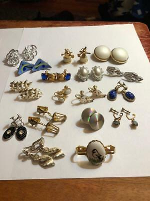 Vintage Lot Of 16 Pair Of Earrings High End Copper,rhinestones,silver-Gold-Tone