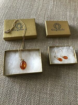 9ct Gold And Amber Pendant Necklace And Drop Earring Set