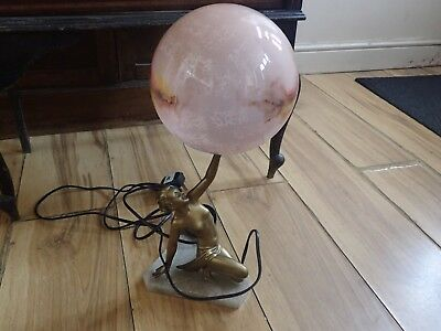 Art Deco Genuine Spelter Figural Table Lamp (stunning Item) Rare