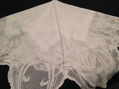 Vintage Hand Embroidered White Linen Tablecloth ~ Floral Crochet Lace