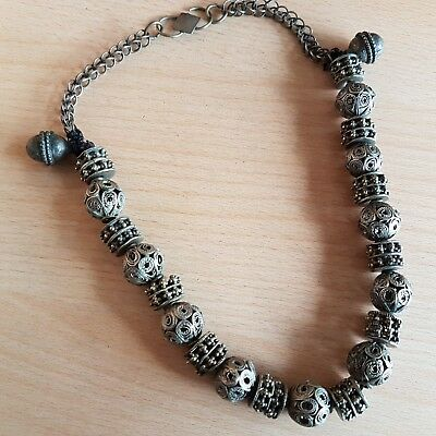 51# Old Rare Antique Islamic Yemeni Silver-Plated Necklace