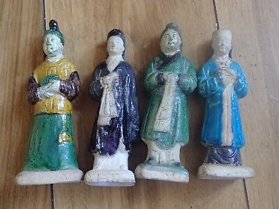 Chinese Pottery Figures X4 (good Condition)