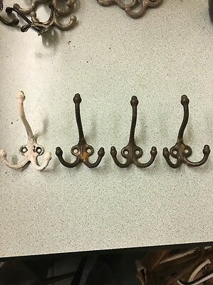4 Cast Iron School Room Acorn Tri Coat Hooks Hat Rack Hall Tree Tack Restoration