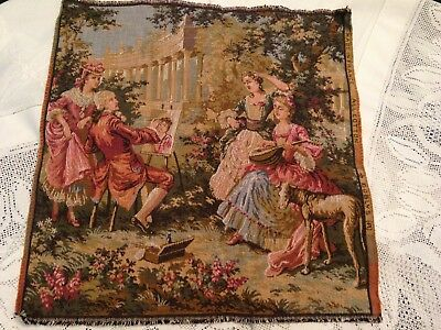 Lovely Vintage Embroidered Tapestry Panel ~ Gobly's France Ladies And Gent