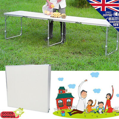 Heavy Duty 8ft Folding Trestle Table 11.85kg Max Load Catering Camping BBQ DIY