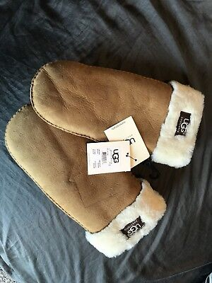 UGG Gloves Classic Logo Mittens Chestnut L XL NEW
