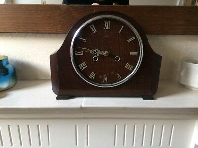 Vintage Smiths Enfield Mantel Clock With Key Working Order Superb Condition