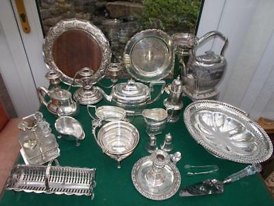 Over 8Kg Lot Silver Plated Items Trays,teaset,spirit Kettle,cruet,cake Slice Etc