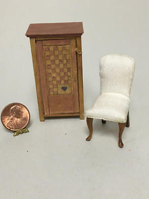 Sue Hoeltge Dollhouse Miniature 1/24 Scale Chair And Cabinet