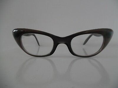 Vintage Birch Translucent Grey & Pearly Blue / Green Cat Eye Glasses