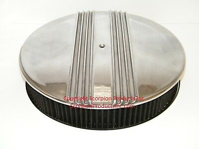 "14"" x 3"" Washable Air Filter with Billet Aluminum Finned Top Holley Edelbrock"