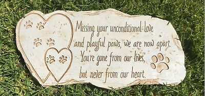 Pawprints Remembered Pet Memorial Stone Marker for Dog or Cat - For Outdoor G...