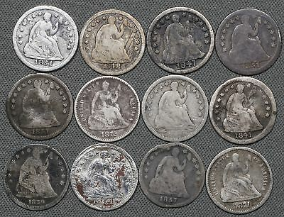 Lot of (12) Seated Liberty Silver Half Dimes, Culls