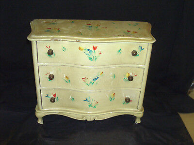 Vintage Antique French Louis Style Miniature Apprentice Bow Front Chest Of Draws