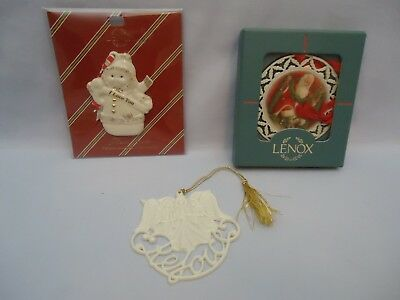 Lot of (3) LENOX Pierced & Merrily Yours Ornaments SANTA Snowman ANGEL Rejoice