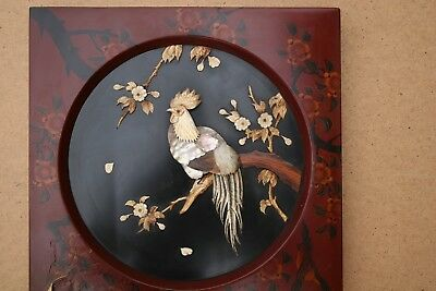 19TH.CENT.ANTIQUE ORIENTAL MOTHER OF PEARL  AND BONE WALL PLAQUE Lacquered Frame