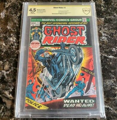Ghost Rider #1 CBCS 4.5, White Pages, Signed by Roy Thomas (Sep 1973, Marvel)