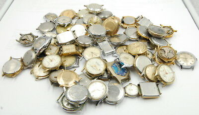 Lot Of (65) Vintage Mechanical Hand Wind Gents Wrist Watches Misc. Makers No Res
