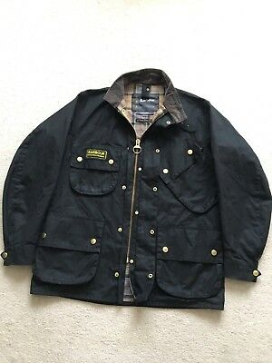 Men's BARBOUR A7 International Black Wax Biker Jacket Coat SZ C42 / 107cm