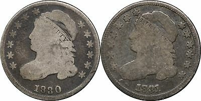 1830 & 1831 Capped Bust Dime, G Good