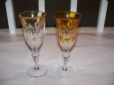 Lot of 2 Panel Cut To Clear Champagne Wine Glasses Yellow Amber