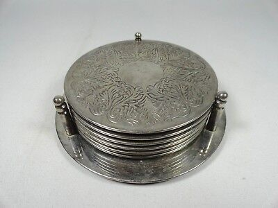 Vintage Set Of 6 Silver Plated Coasters W/ Stand