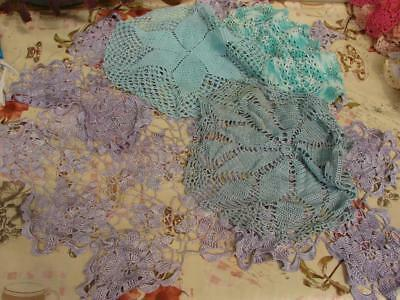 6 Vintage Hand Crochet Doilies,Table or Chest Mats~Green,Purple,Turcoise