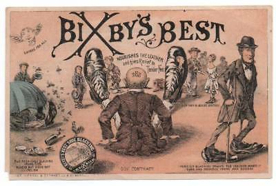Bixby's Best Shoe Blacking ad card    Men and women use shined shoes for mirror