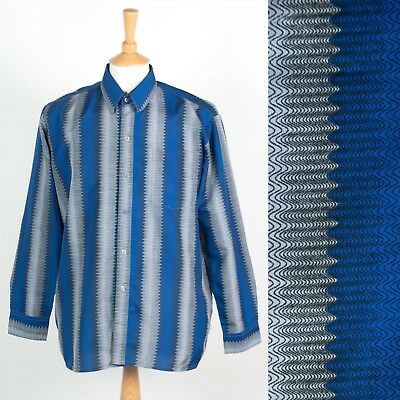 Mens Vintage 90's Polyester Shirt Blue & White Retro Striped Pattern Nineties M