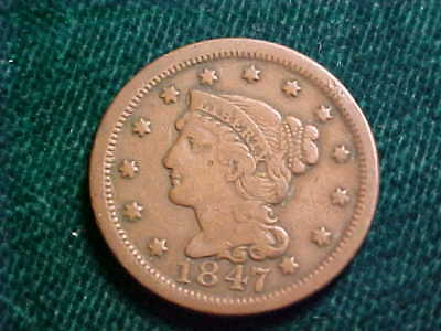 #6) 1847 Large Cent >>> Starts at .99 Cents - No Reserve <<<