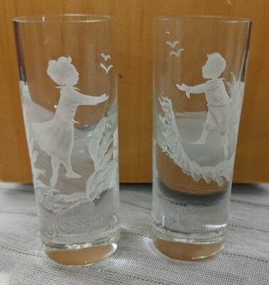 Antique Victorian MARY GREGORY Boy & Girl Clear Etched Small Glasses - Gold Trim
