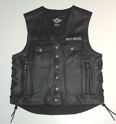 Harley Davidson Thick Leather Piston Vest Made In Usa  Mens Large Very Nice  101