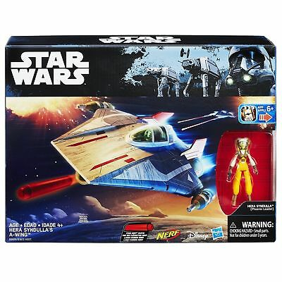 """Hasbro Star Wars Rebels Hera Syndulla's A-Wing Fighter NERF 3.75"""" Figure - NEW"""