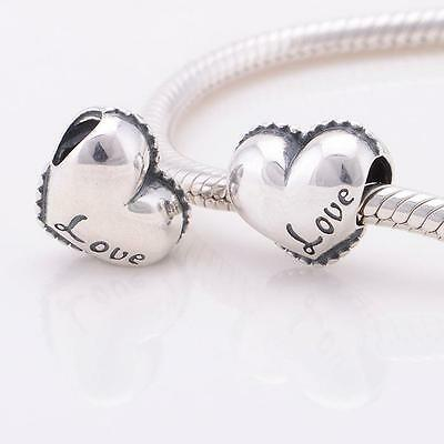 925 Sterling Silver Love Heart Valentines Day Bracelet Charm Bead Gift Boxed W3