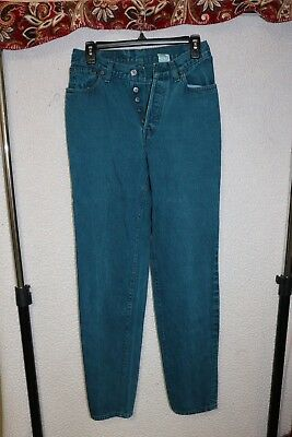 Vintage Levi Jeans size 9 teal dyed 17501 made in USA 28x31 button-fly