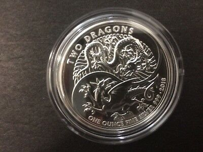 2018 Royal Mint 1oz Two Dragons Double Dragons Great Britain £2 Silver coin