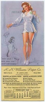 """1945 K.O. Munson Advertising Blotter  Pin-Up art  """"Just too cute for words"""""""