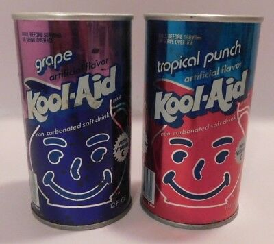 2 Vintage Steel Juice Soda Can Grape Cherry Kool-Aid Non-Carbonated