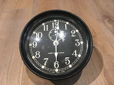 "Vtg Nautical Maritime Navy Submarine Clock ""Mark I-Dick Clock"" M.Low. New York"