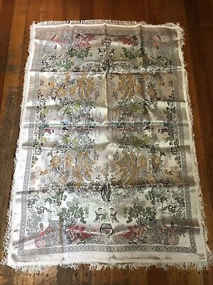 BEAUTIFUL VINTAGE LINEN CHINESE SILK BROCADE EMBROIDERY TABLECLOTH CLOTH As New