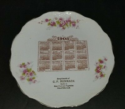 vintage 1908 Calendar Plate compliments of C.F. RENNACK PALATINE ILLINOIS EXCELL