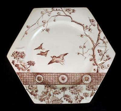 "c1890 AESTHETIC MOVEMENT ""Rangoon"" OCTAGONAL Brown Transferware Plate JAPONISM"