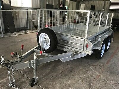 8X5 Galvanised Tandem Heavy Duty Trailer -2ft Galvanized Cage - Jockey & spare
