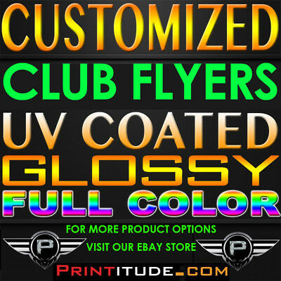 1000 PERSONALIZED CLUB FLYERS 4.25x2.75 FULL COLOR UV GLOSS 2SIDED 14PT POSTCARD