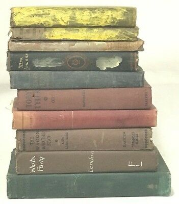 Antique Vintage Distressed Book Lot of 10 1894 - 1950 Steinbeck White Fang Decor