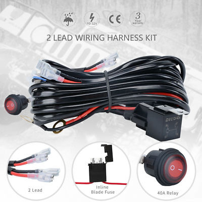 One-To-Two LED Light Bar Wiring Kit Loom Harness ON/OFF Switch Relay 12V 40A